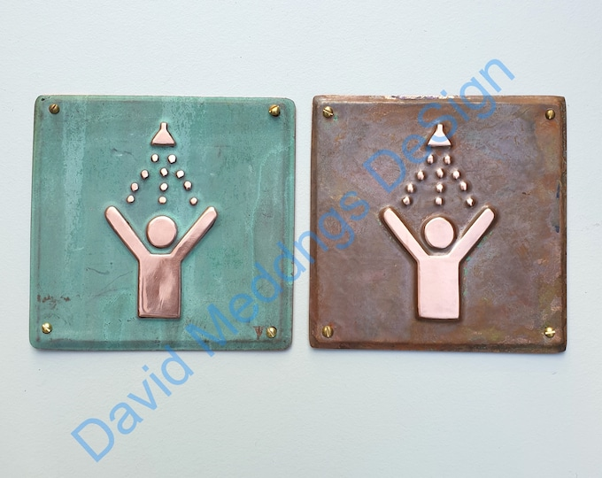 """Shower copper door plaque in hammered or green - upcycled birthday gift 4.2""""/105mm square d"""
