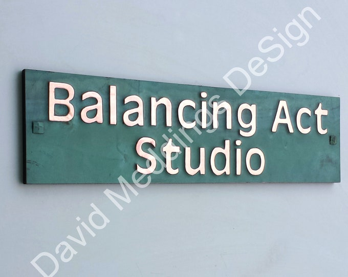 """Copper House Address Plaque on 2x lines 2""""/50mm high characters in Antigoni , plywood backed d"""