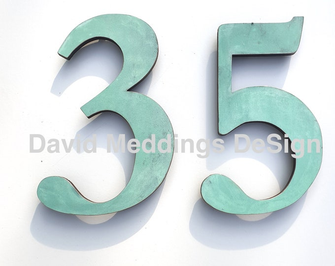 """Copper traditional style floating numbers  3""""/75mm or 4""""/100mm high polished, hammered, brushed or patinated in Garamond t5S"""