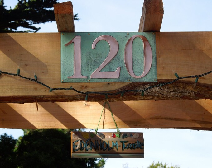 "Green Copper Number Address Plaque  3x nos. 6""/150mm high in Garamond d"