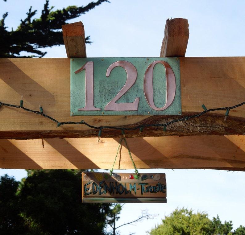 Green Copper Number Address Plaque  3x nos. 6/150mm high image 0