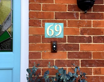 """Eco Gift Present  House numbers in green copper, 3""""/75mm, 4""""/100 mm, polished and laquered, 2x numbers d"""