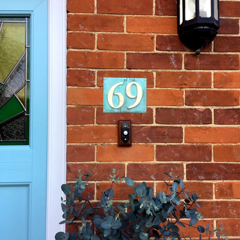 Eco Gift Present  House numbers in green copper 3/75mm image 0