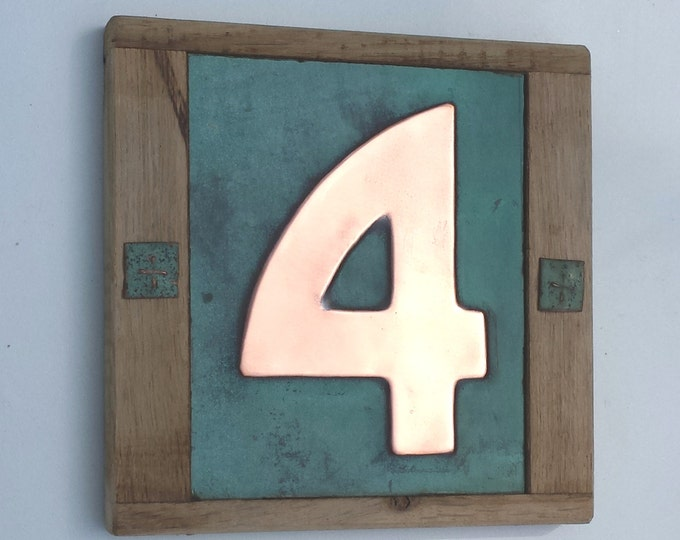 """Arts and Crafts Style Wood and Copper House number 3""""/75mm, 4""""/100mm Bala font with real patina,  1 x no. polished and laquered g"""