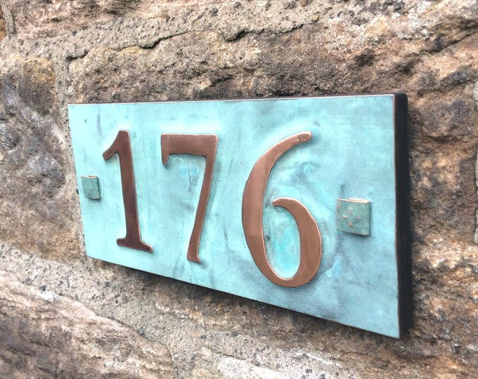 """House number plaque in real copper with plywood back 3x nos 3""""/75mm, 4""""/100mm, ships worldwide, maintenance free d"""