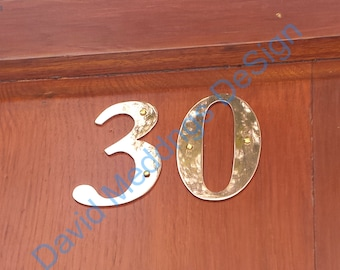 """Serif Brass house numbers letters handmade 75mm/3"""" or 4""""/100mm high in Garamond polished, brushed or hammered dS"""