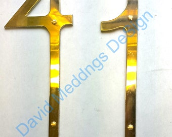 """Brass house door numbers in Art Nouveau polished, hammered or brushed finish 3""""/75mm or 4""""/100mm high  tS"""