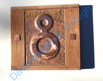 """Mission Mackintosh Eco Copper House plaque with oak frame 1x no 3""""/75mm or 4""""/100mm Shp"""