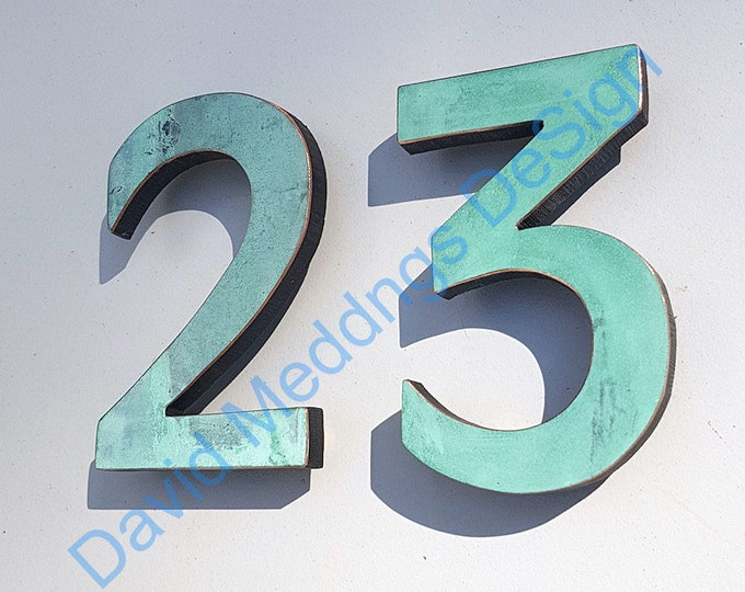 """Modern green, hammered or brushed copper House numbers floating 4""""/100mm high in  Antigoni font tS"""