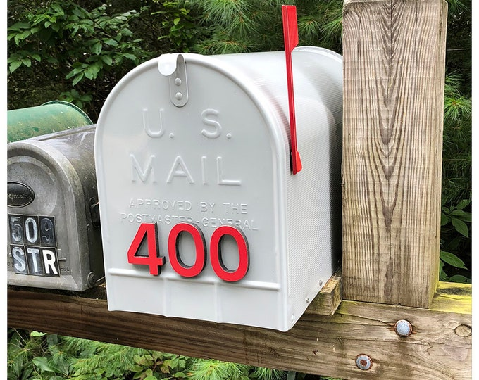 """Coloured Mailbox House numbers Modern contemporary 3""""/75mm high in Antigoni font tape option t"""