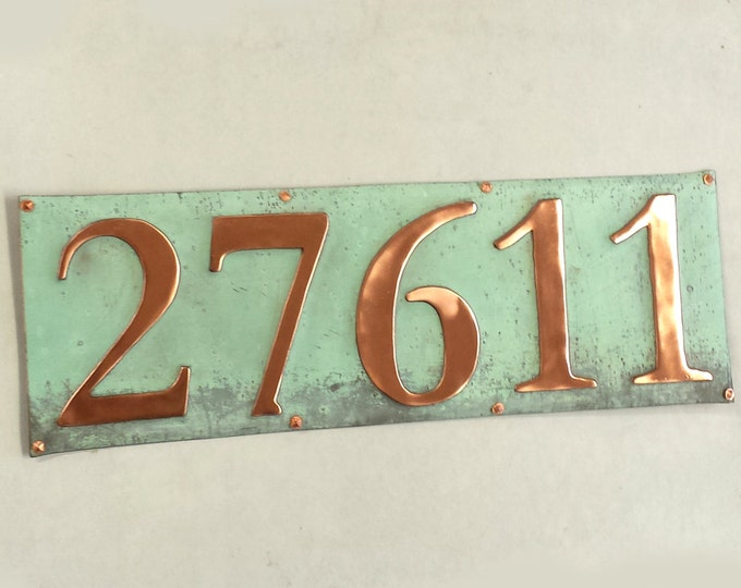 """Traditional Arts Crafts green  or hammered copper House sign 5x 3""""/75mm or 4""""/100mm in high in Garamond d"""