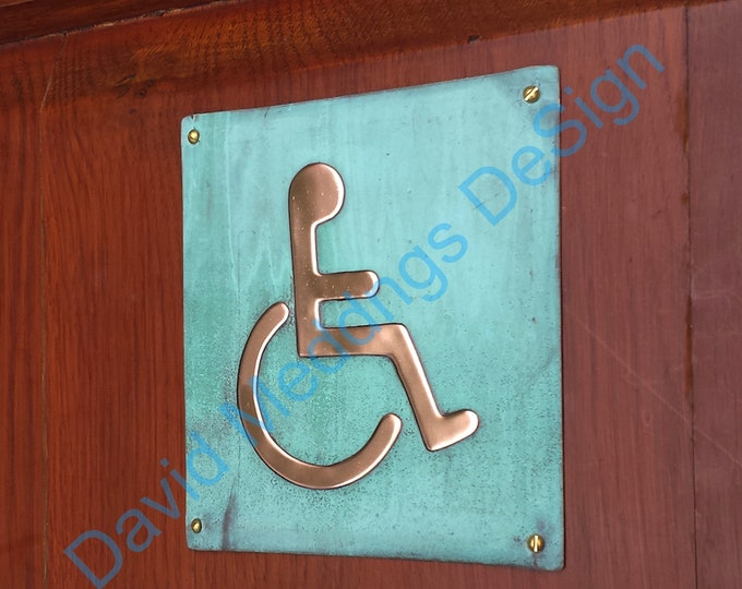 """Wheelchair user disabled toilet lavatory sign door Plaque 4.2""""""""/105mm square in patinated or hammered copper with fixings gS"""