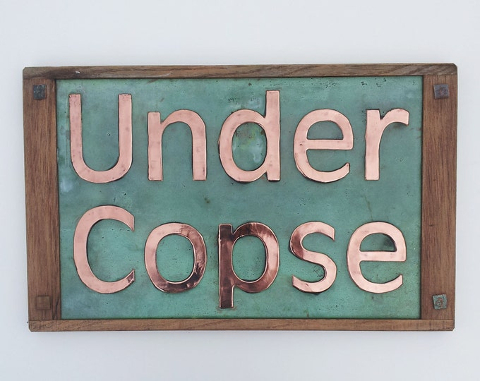"""House Sign in copper 4""""/100 mm Antigoni letters with Oak wood frame on  2 x lines CAPS and lower case - maintenance free g"""