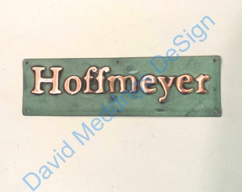 """Small copper Gate door name Sign address plaque up to 22 letters of your choice in 1"""" high Garamond font dS"""