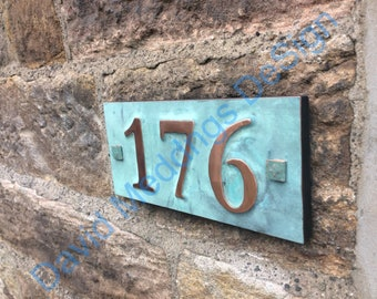 """House number plaque in real copper with plywood back 3x nos 3""""/75mm, 4""""/100mm, ships worldwide, maintenance free Shp"""