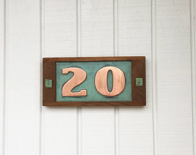 """Copper plaque in Art Deco with oak frame, 2 x nos  3""""/75mm,4""""/100mm high, shipped worldwide g"""