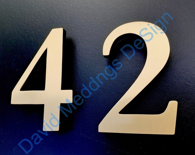"""Architectural Brass floating 3D house numbers polished, hammered or brushed 4""""/100mm high  in Garamond tS"""