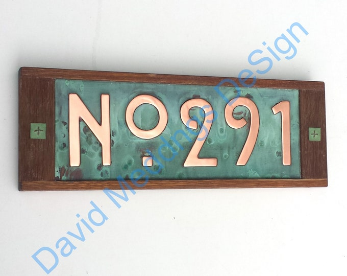 """House plaque in Mission Mackintosh Style copper with oak frame 3x or 4x numbers 3""""/75 or 4""""/100mm high  with 'No' prefix dS"""