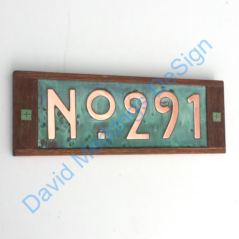 House plaque in Mission Mackintosh Style copper with oak frame image 0