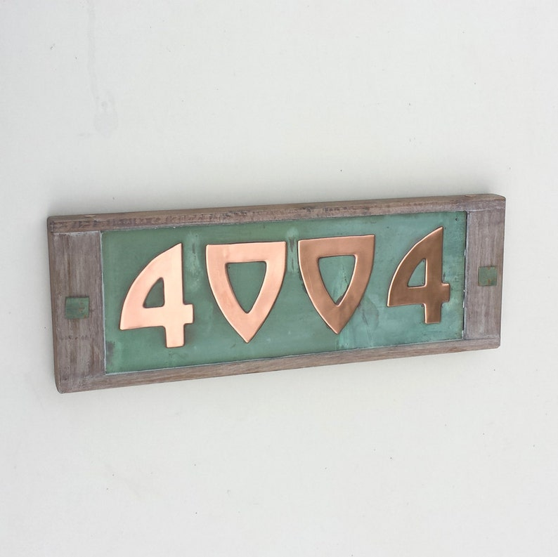 Arts and Crafts Style oak and Copper House numbers image 0