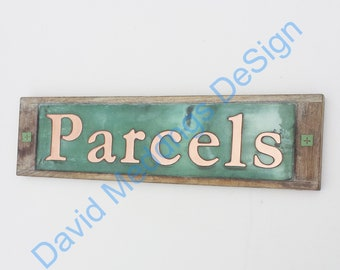 """House Sign Names in Oak and Copper in UPPER and lower case 3""""/75 mm high Garamond on one line  Shp"""