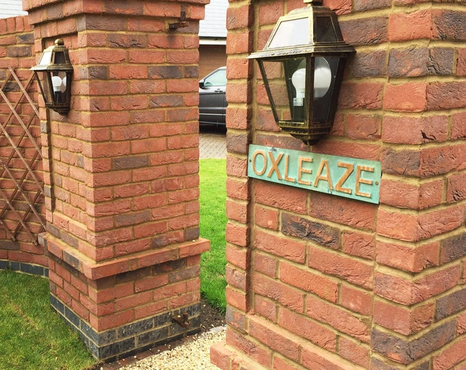 """Copper House Address Plaque in 3""""/75mm high CAPITALS,  - plywood backed,  Antigoni font,  patinated, polished and  laquered g"""