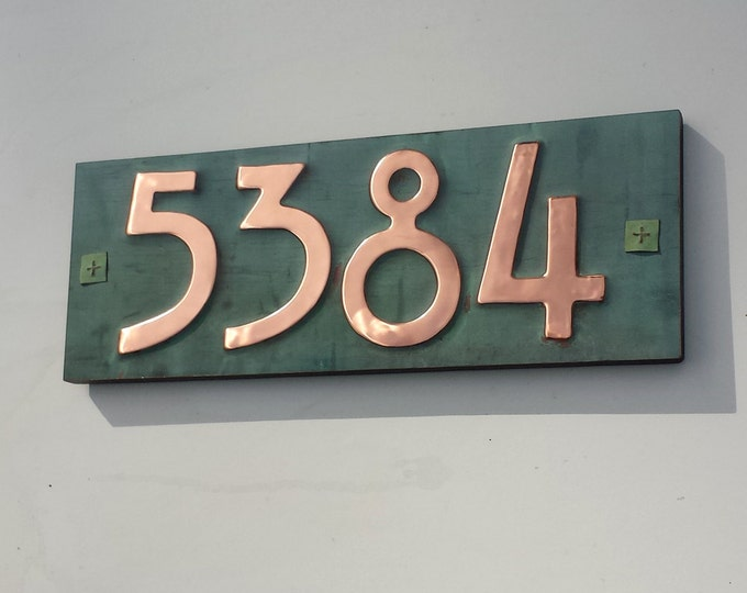 "Mission Mackintosh copper plaque  with 3""/75mm or 4""/100mm high, plywood backed 4 x nos, for brick, stucco and wood g"