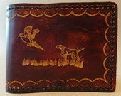 Tooled Brown Leather Wallet - Leather Billfold - Pheasant and Pointer