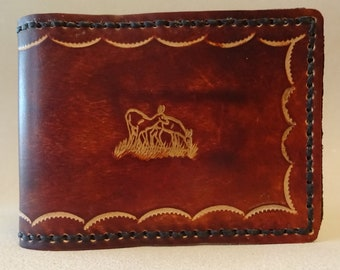 Tooled Brown Leather Wallet - Leather Billfold - Deer Couple