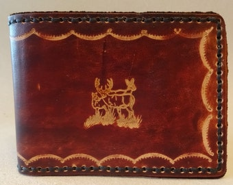 Tooled Brown Leather Wallet - Leather Billfold - Deer Family