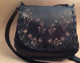 Tooled Black Leather Crossbody Bag - Shoulder Bag - Purse - Handbag - Floral Pattern
