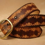 """Brown Leather Belt - Tooled Leather Belt - Custom Leather Belt - Personalized Leather Belt - 1-1/2"""" Leather Belt with SND Pattern"""