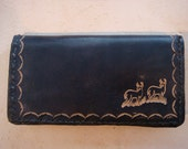 Black Leather Checkbook Cover - Tooled Leather Checkbook Cover - Black Leather Wallet - Custom Leather Checkbook with Double Deer