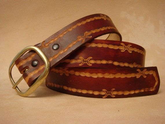 CUSTOM MADE GENUINE LEATHER BELT BROWN WITH FLEUR DE LIS 1 1//2/'/' WIDTH