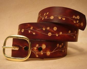 "Brown Leather Belt - Custom Leather Belt - Personalized Leather Belt - Ladies Leather Belt  1-1/2"" Floral 3 Pattern"