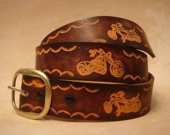"""Brown Leather Belt - Tooled Leather Belt - Custom Leather Belt - Personalized Leather Belt - 1-1/2"""" Motorcycle Belt"""