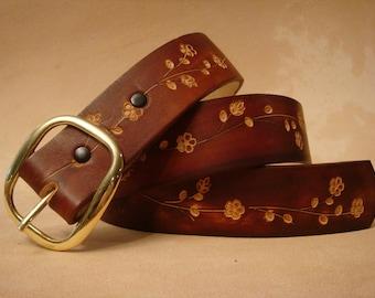 Brown Leather Belt - Tooled Leather Belt - Custom Leather Belt - Personalized Leather Belt - Ladies Leather Belt - Floral 2 Pattern