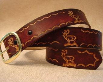 "Brown Leather Belt - Custom Leather Belt - Personalized Leather Belt - Men's 1-1/2"" Leather Belt with Elk Pattern"
