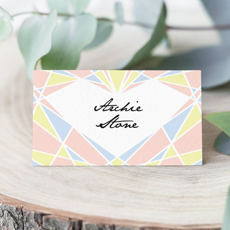 Art deco heart wedding place cards pack 10