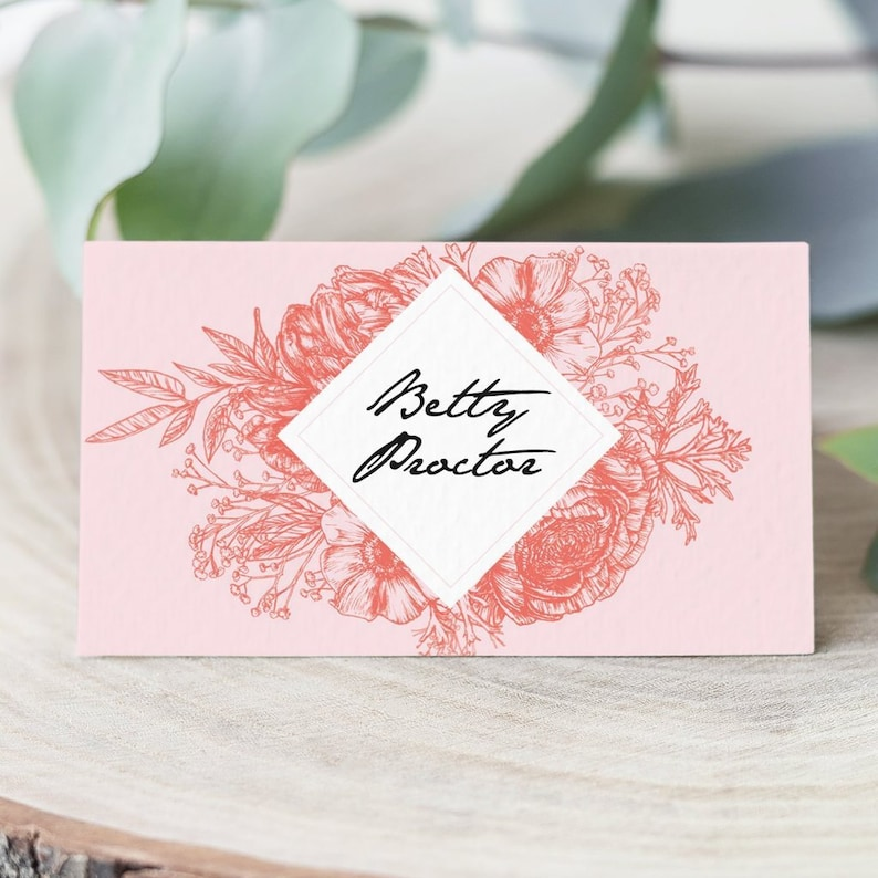 Wildflower coral and blush wedding place cards pack 10