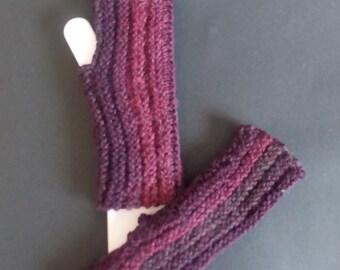 Dark Rose Knitted Fingerless Gloves