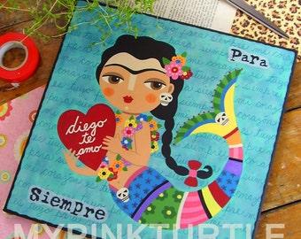FRIDA Kahlo Love Mermaid with Heart 12 x 12 ORIGINAL folk art canvas PAINTING by LuLu