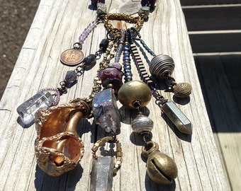 SALE Eclectic Bohemian Tribal Necklace. Boho, Primitive, Earthy, Rustic, Ethnic, Organic, Indian, Ethiopian, Purple, Oxidized, Choker, OOAK.