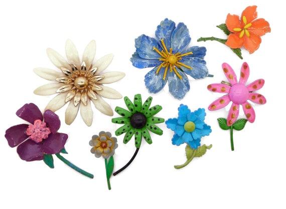 Polka Dots Flowers Enamel Flower Lot
