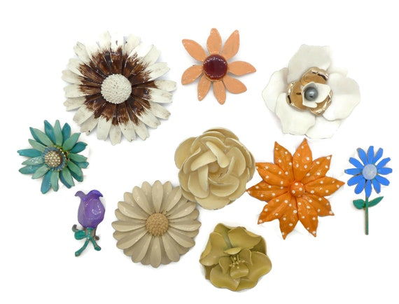 Enamel Flower Lot 9 flowers