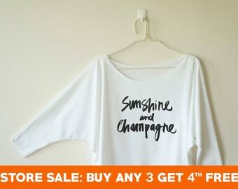 321a9f10 Sunshine and champagne tshirt party shirt funny top fashion shirt graphic  women gifts shirt dolman shirt oversized 3/4 sleeve women tshirt