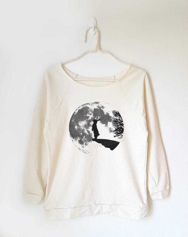 465e6ae06516d9 Rabbit sweatshirt moon night t shirt moon tops funny shirt