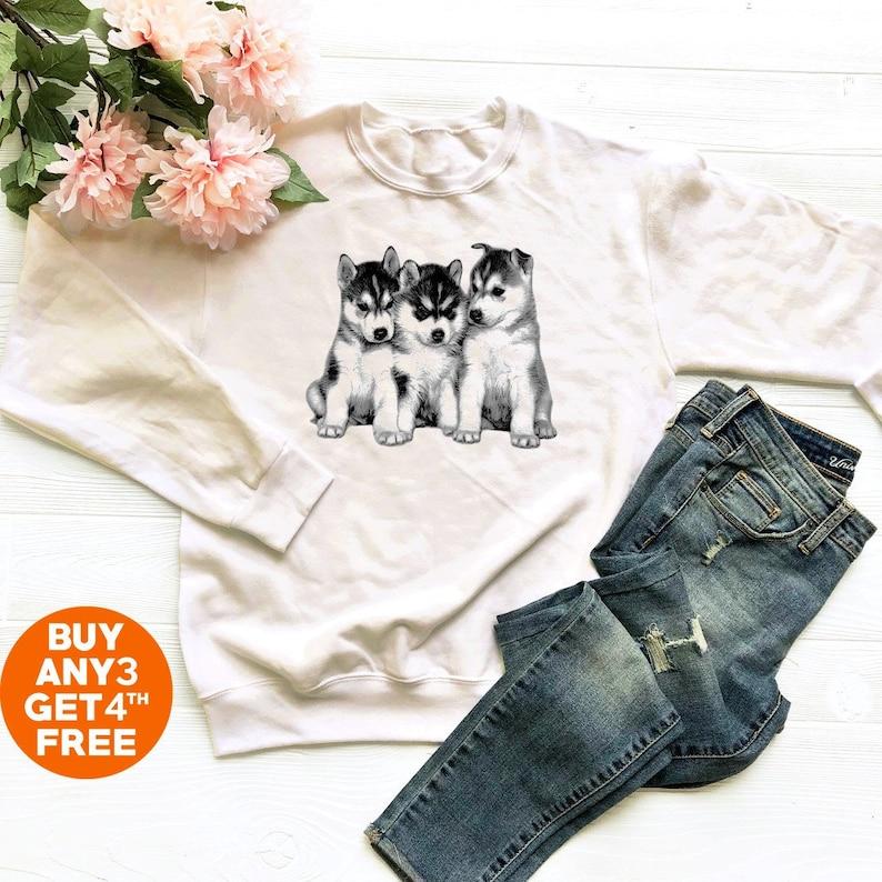 ca0b7380 Cute puppy shirt siberian husky sweatshirt dog shirt funny | Etsy