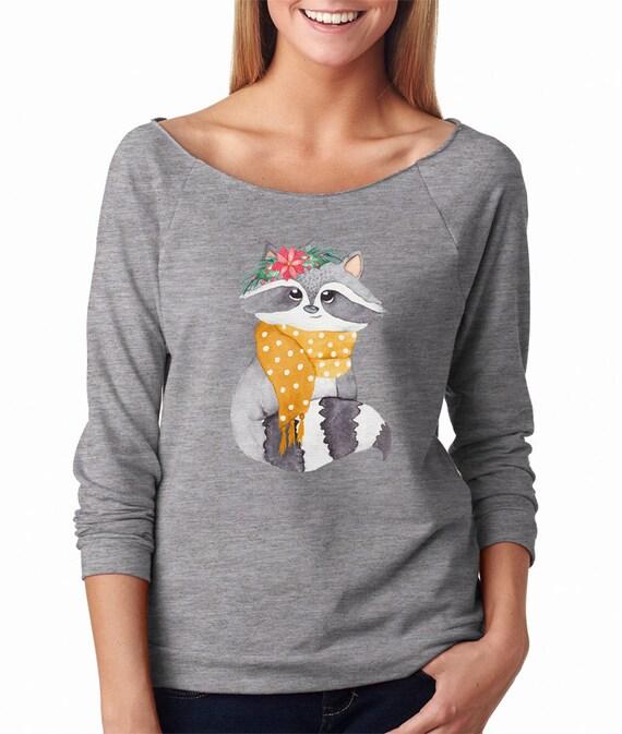 Noël raton laveur sweatshirt Noël raton chemise raton Noël laveur cadeaux drôle Noël pull tenues hauts mode Noël cadeaux animaux chemise femme d17ba4