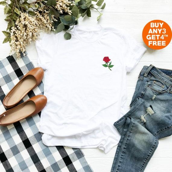 c2ef21a213d21 Rose tshirt floral shirt pocket top floral gifts flower tees